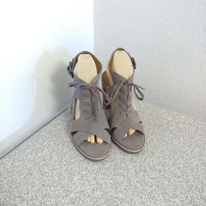 Kelsi Dagger Gray Lace Up Sandals